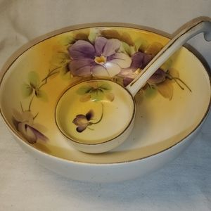 Hand painted Nippon footed bowl and ladle